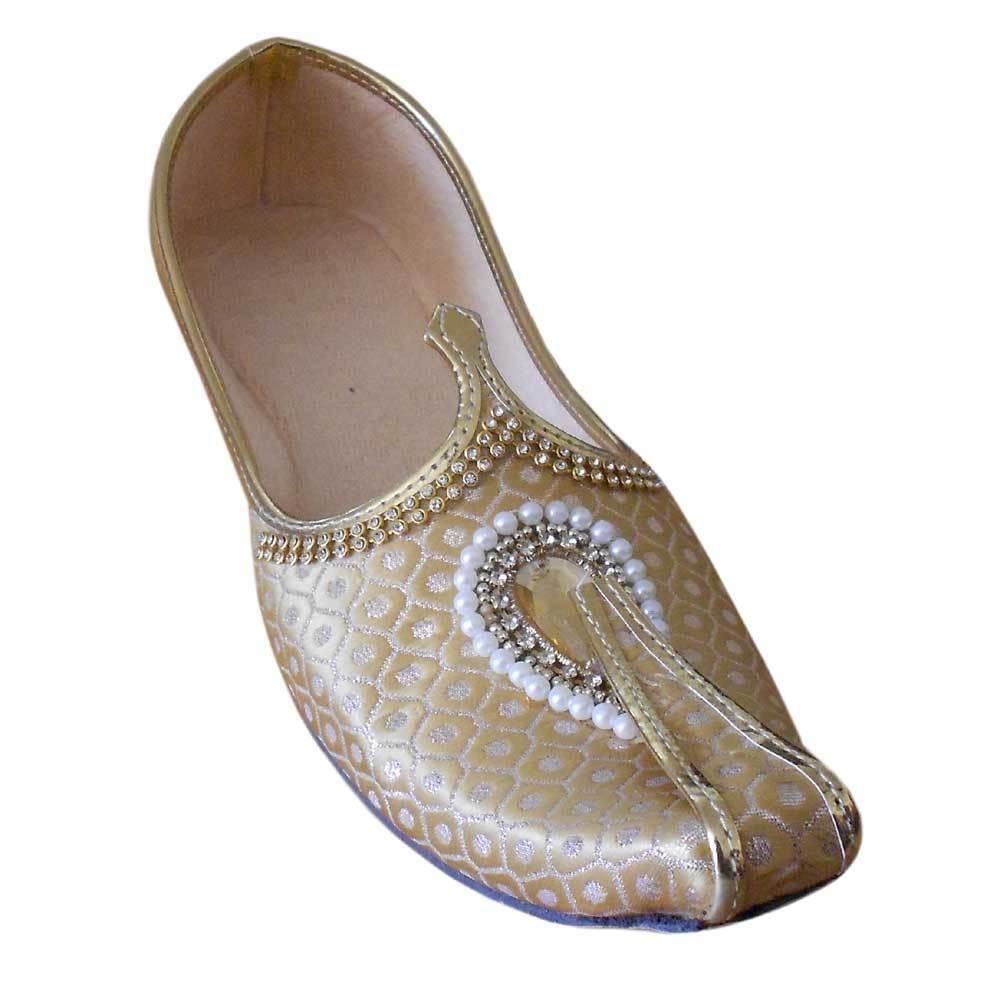 Men shoes Mojari Wedding Cream & golden Handmade Loafers & Slip Ons US 6-12