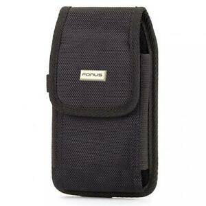 CASE HOLSTER BELT CLIP SIDE COVER DURABLE RUGGED CANVAS BLACK for SMARTPHONES