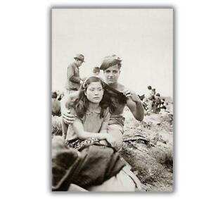 War-Photos-American-soldiers-forces-amp-Japanese-girl-WW2-Glossy-4-x-6-inch-G