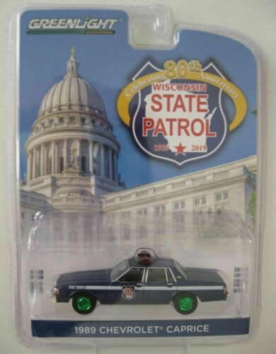 1989 Chevrolet Caprice POLICE Wisconsin GREEN MACHINE Chase* Greenlight 1:64 RAR