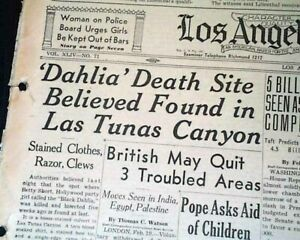BLACK-DAHLIA-Elizabeth-Short-Los-Angeles-CA-HOLLYWOOD-Murder-Case-1947-Newspaper