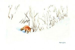Fox standing 5 x 7 inches Art print of original watercolor by Anna