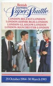Details about BRITISH AIRWAYS SUPER SHUTTLE TIMETABLE WINTER 1984/5 BA  CABIN CREW PICTURE