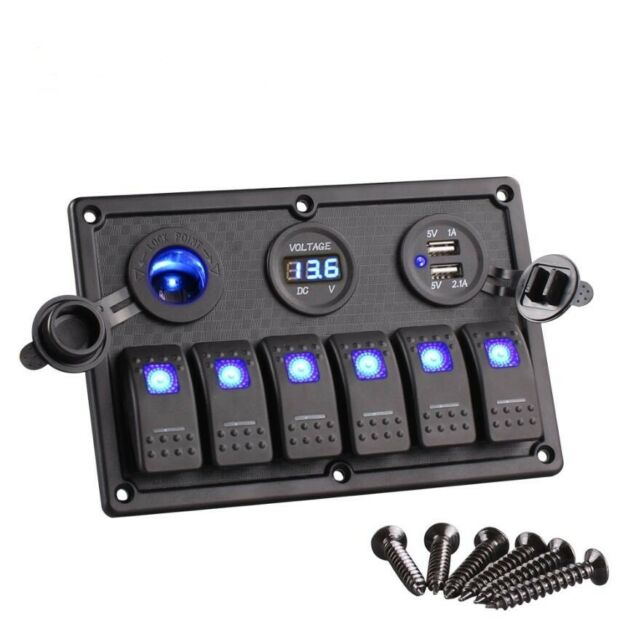 6 Gang LED Rocker Switch Control Panel Circuit Charger 12V 24V-Boat RV Marine
