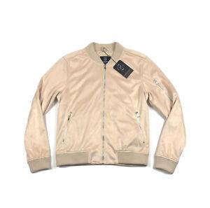 Hudson-Outerwear-Mens-Size-Large-Khaki-Beige-Velour-Full-Zip-Bomber-Jacket