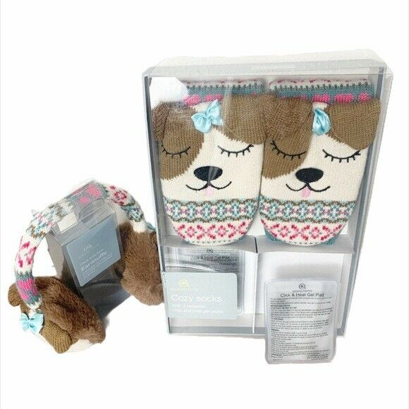 AROMA HOME Cozy Socks & Ear Muffs Click & Heat Pad for Winter Cool Weather