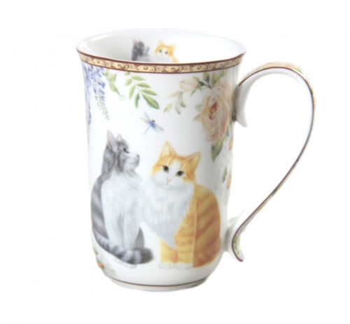 Cat Fine China Tall Mug Long Haired Cats Boxed