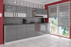 Grey High Gloss Acrylic Doors Kitchen Cabinets Complete 7 ...