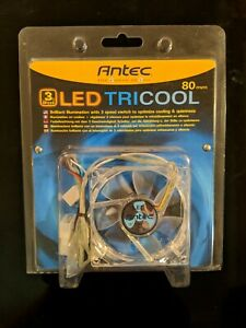 Antec TriCool 80mm Blue LED Cooling Fan with 3-Speed Switch NEW