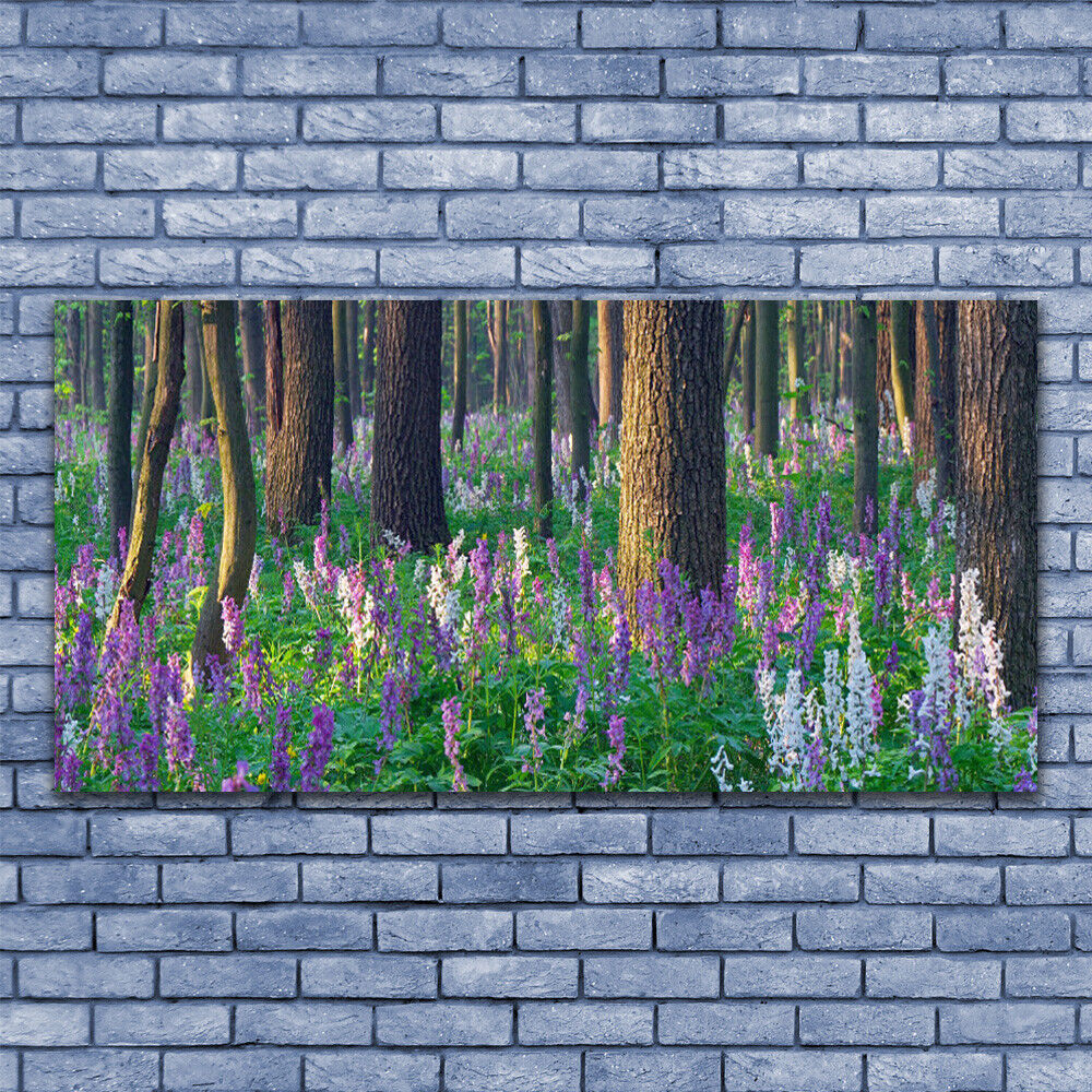 Glass print Wall art 140x70 Image Picture Forest Flowers Nature