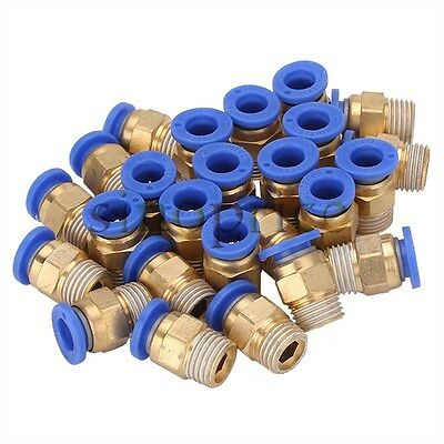 "25pcs 8mm Pipe Pneumatic Straight Connector 1/4"" BSPT Thread for PU Trachea Hose"