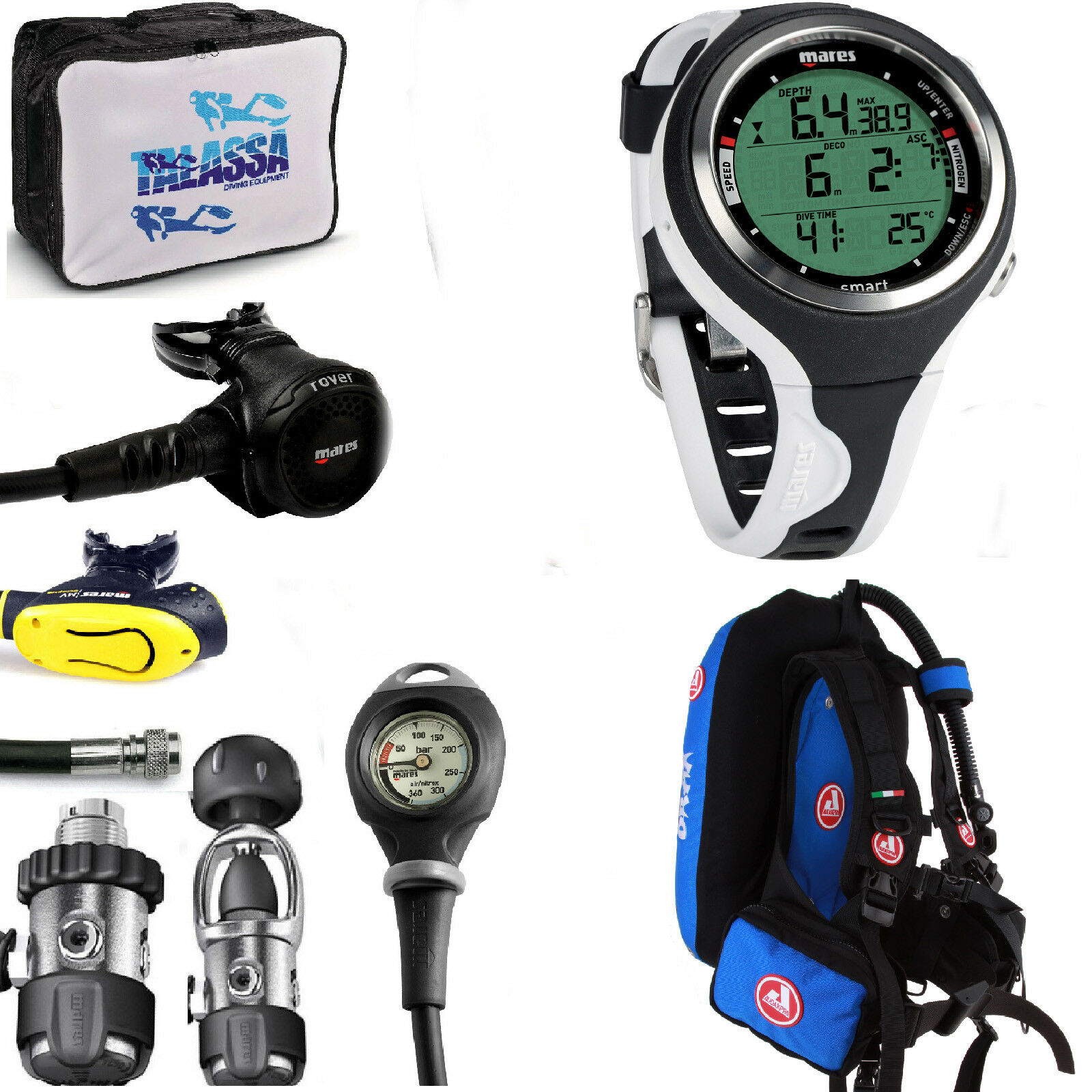 LO3 88 KIT Mares Regulator ROVER 2S + COMPUTER SMART BCD AUDAXPRO DRAX blue