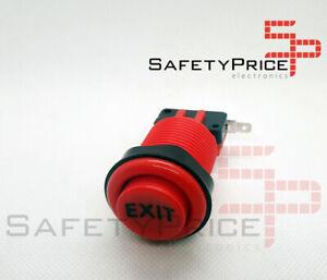 Pulsador-Arcade-concavo-Rojo-EXIT-Recreativa-Bartop-Joystick-Americano-28mm-33mm