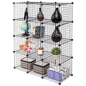 Image Is Loading 12 Shelves Adjule Clothing Book Wire Storage Cube