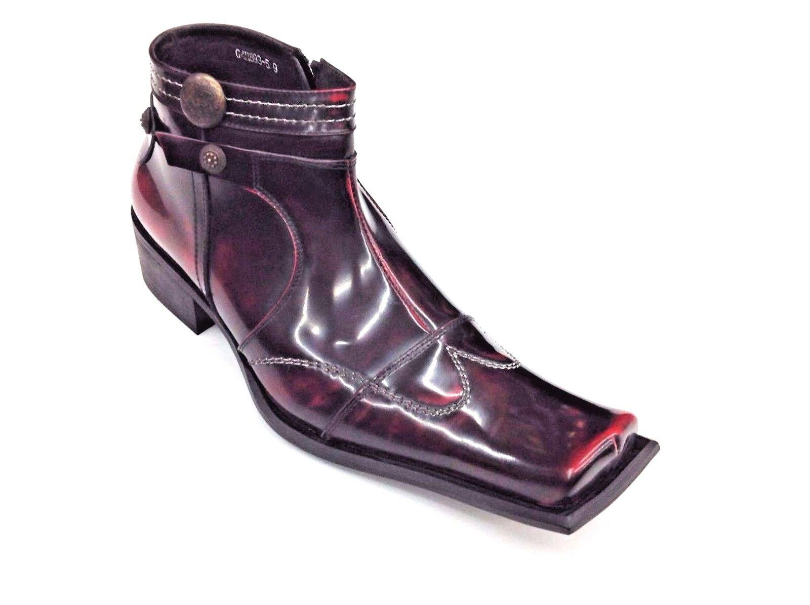 botas para Hombre de Estilo Europeo Cuero Tachuelas Con Cremallera Puntera Cuadrada Zota G4H893-5 vino