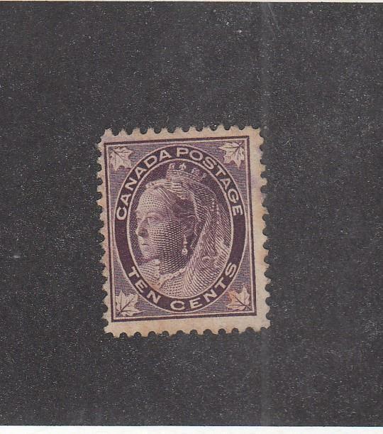 CANADA (MK5874) # 73 F-MNG 10cts 1897 QUEEN VICTORIA MAPLE LEAF /BRN-VIO  CV $60