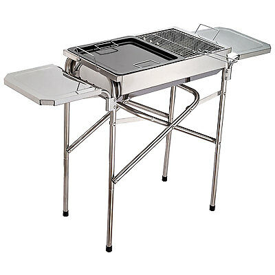 Outdoor BBQ Grill Portable Kebab Barbecue Charcoal Stainless Steel Smoker Camp