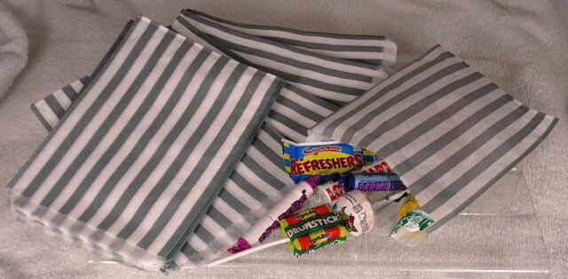 25 Grey/Silver & White Stripe Paper Sweet Bags Any Occasion Pick 'n' Mix Bags