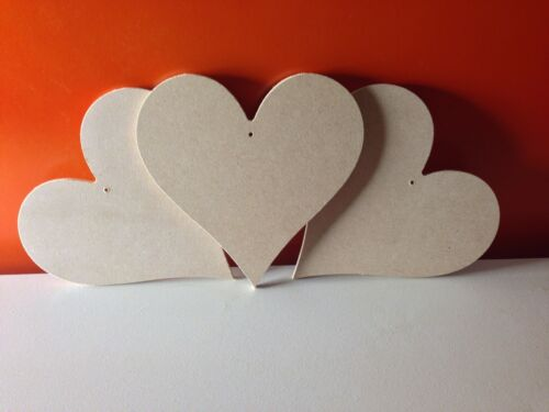 7 x Wooden Mdf hearts 15cm x 15cm 4mm thick