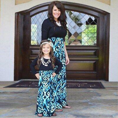Kid Parent Outfit Mother Daughter Dress Family Girl Women Long Sleeve Maxi Dress