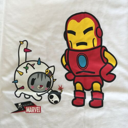 New Women/'s Tokidoki Iron Man white cotton T-shirt Size S or L