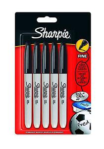 SEALED-Sharpie-Black-Ink-FINE-Point-Bullet-Tip-Permanent-Marker-Pens-Pack-of-5