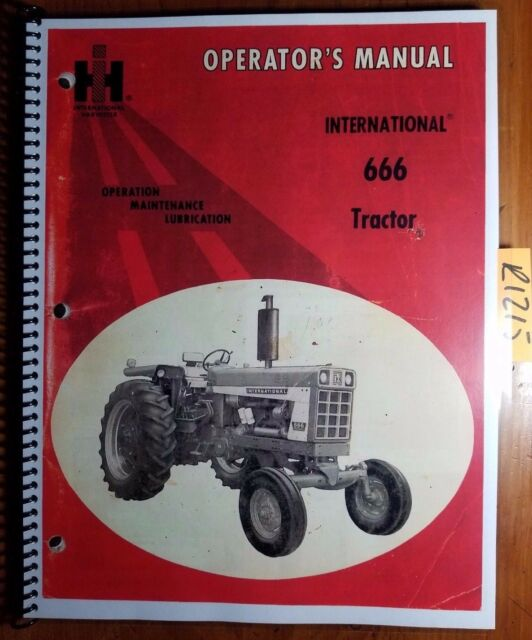 Ih International Farmall 666 Tractor Owner S Operator S Manual 1084168 R1 10 72 For Sale Online