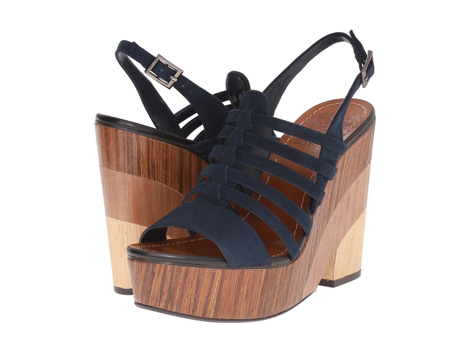 Vince Camuto Onia Azul Marino Oscuro Oscuro Oscuro sude R-Correa Mujeres Cuña Zapatos Puntera Abierta  marcas de diseñadores baratos