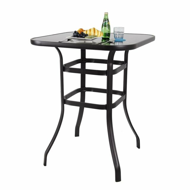 Astonishing Phi Villa 31 5 Patio Glass Top Pub Counter Bar Height Table For Outdoor Garden Home Interior And Landscaping Ologienasavecom