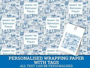 Image Is Loading Personalised Happy 1st Birthday Wrapping Paper Blue Baby