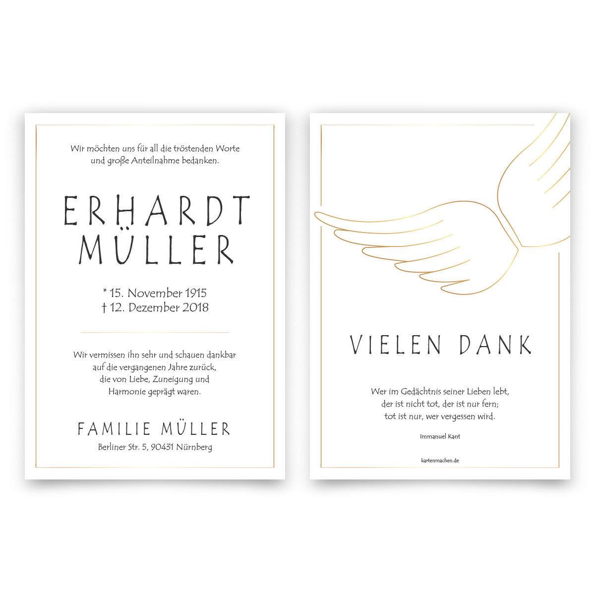 Trauer Dankeskarten Danksagung Trauerkarten individuell - Engelsflügel