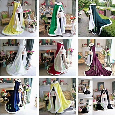 Women Girl Winter Wedding Cloak Cape Hooded with Fur Trim Long Bridal Winter