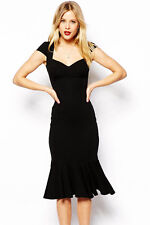 Flouncing Hemline Bodycon Midi Dress Black Medium