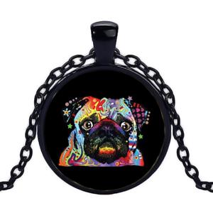 Vintage Pug Neon Black Cabochon Glass Necklace chain Pendant