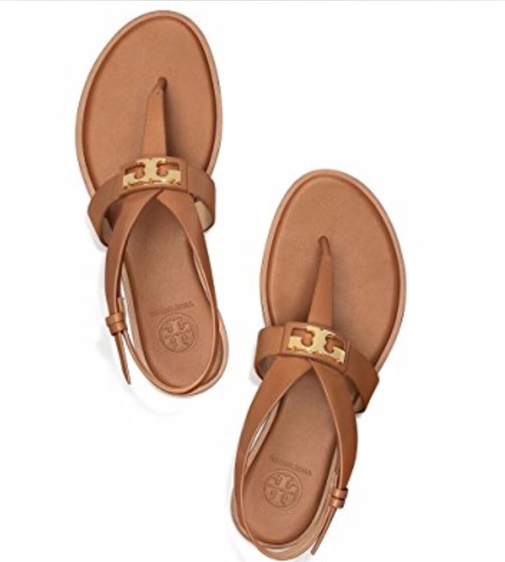 NWB Tory Burch Flat Sandals  6.M British Tan Gigi Flat Sandals  varie dimensioni