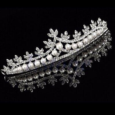 Bride Tiara Crown Bridal Rhinestone Pearl Crystal Hair Wedding Veil Headband