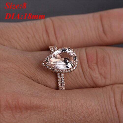 2Pcs 18K Rose Gold Rings Gift Set Diamond Jewelry Wedding Band Ring Size 6-10