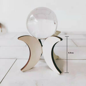 Handmade Wooden Crescent Moon Sphere Stand Holder For 30-40MM Exclude Crystal