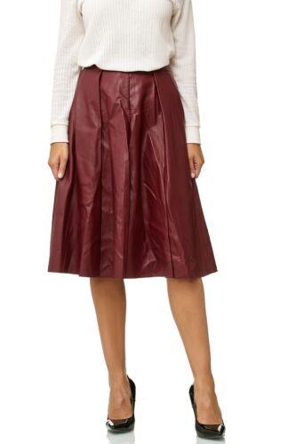 Damen Rock Leder Optik Falten Rock Midi Ausgestellt Maxi Skirt Volant Knie Lang