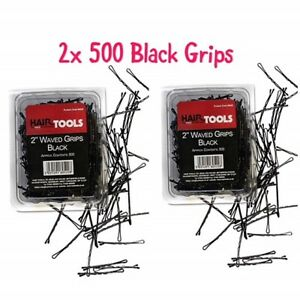 HairTools-2-034-Black-Waved-Grips-500-per-Box-Duo-Pack-x2-Boxes