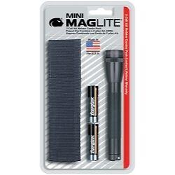 Maglite M2A01H mini-Maglite Noir Lampe De Poche Kit avec étui et 2 piles AA