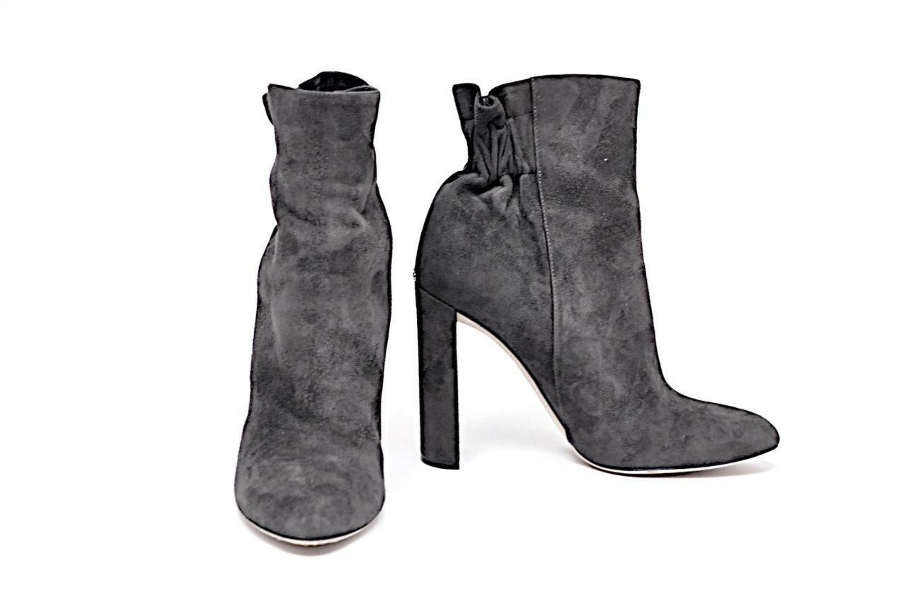 CHRISTIAN DIOR Graphite 100% Suede 4-3 8  Heel Rear Elastic Ankle Boots  Sz 38.5