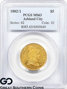 1802-1-PCGS-Capped-Bust-To-Right-Half-Eagle-5-Gold-MS-63-RARE-Collector-Coin