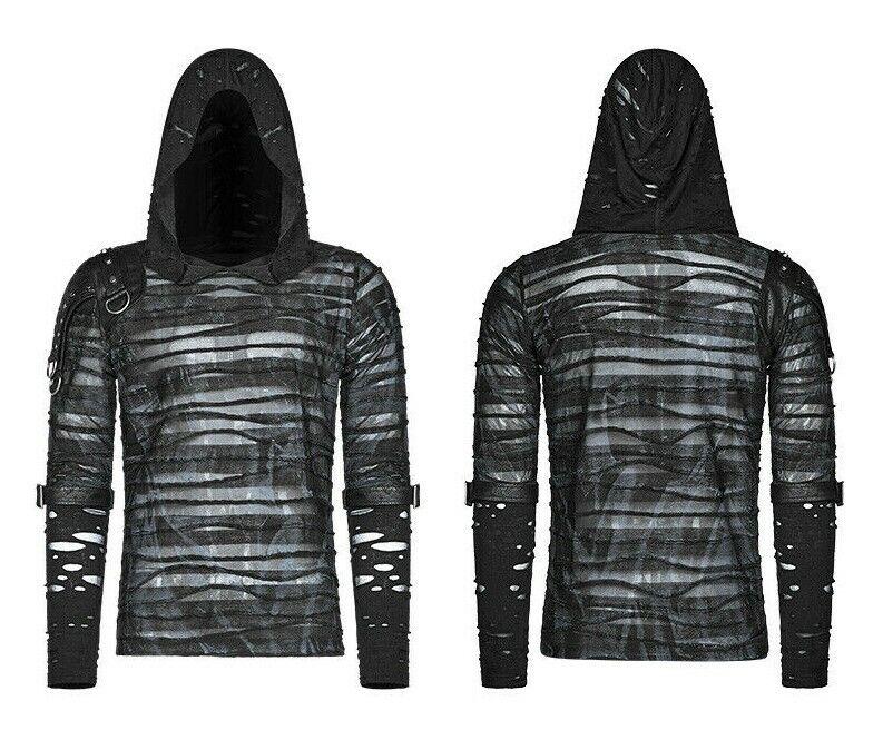 6b0bf6d01 Punk Rave WT-559 Hooded long sleeve mesh shoulder metal tab fabric ...