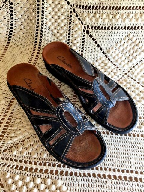 eeec7f331c763b CLARKS Strappy Clogs Sandals Wedges Mules GENUINE LEATHER WOMENS SHOES SIZE  7