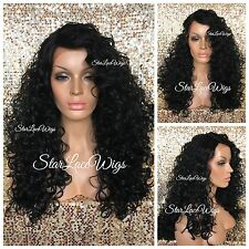 Long Curly Lace Front Wig Layers Jet Black #1 Side Part Heat Safe