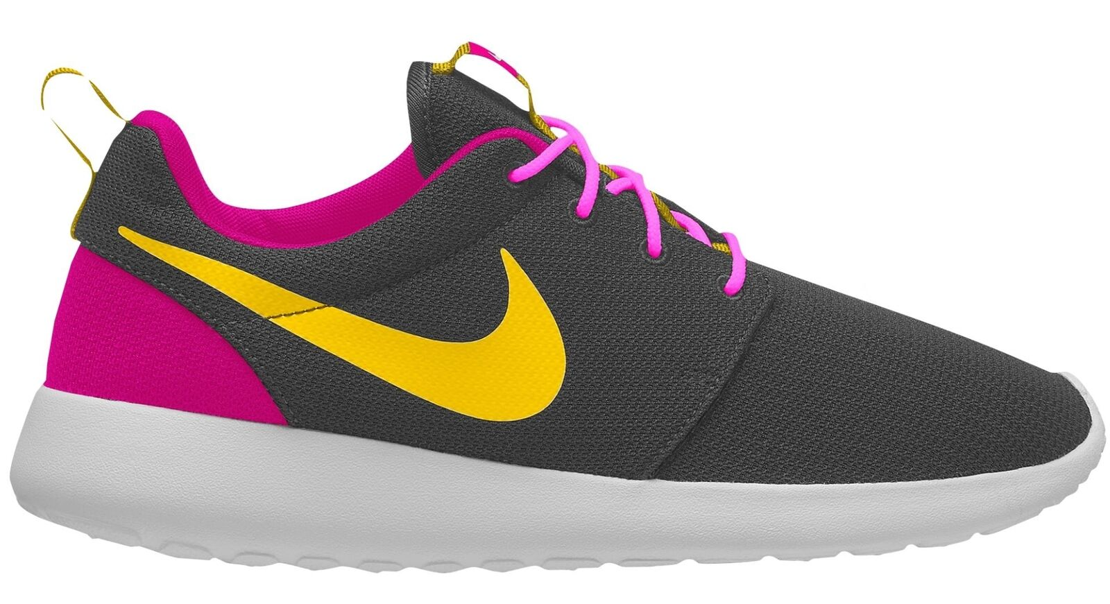 Nike Roshe One Mens 511881-035 Anthracite Magenta Yellow Running Shoes Size 7.5