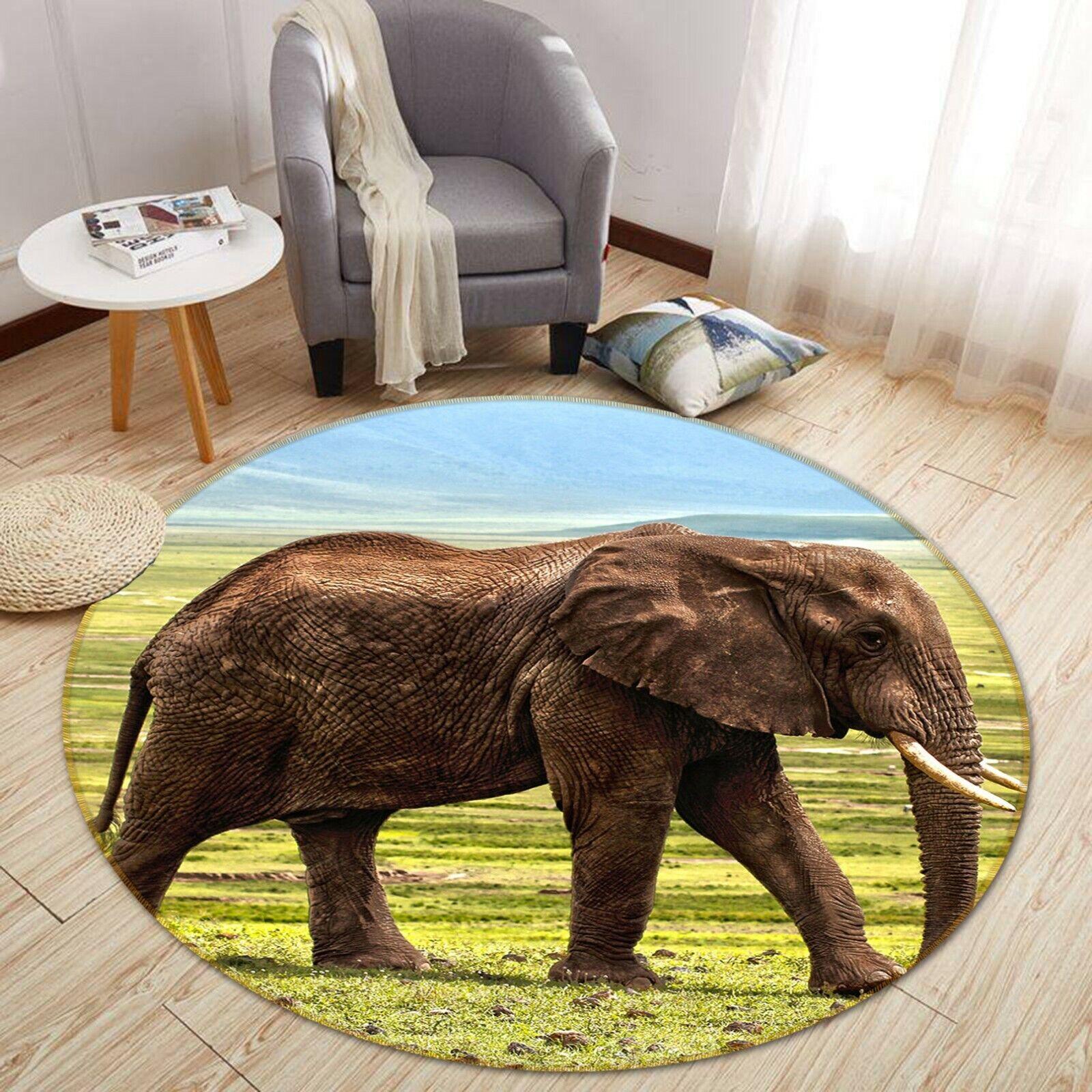 3D ELEFANTE DELLA PRATERIA C34 Animale tappetino antiscivolo tappeto rossoondo elegante Tappeto Wendy