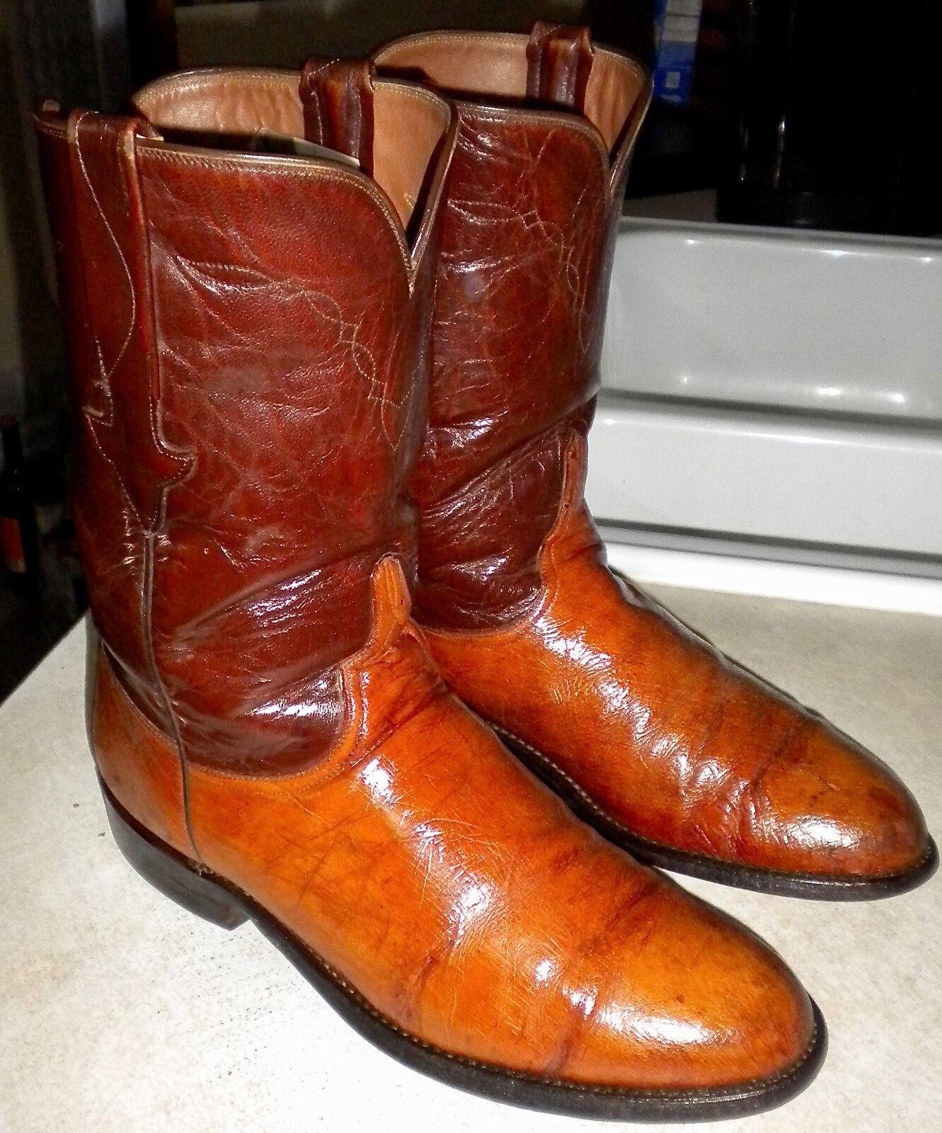 Mens 9 D Coñac LUCCHESE Ward L8928 Avestruz Roper Occidental botas
