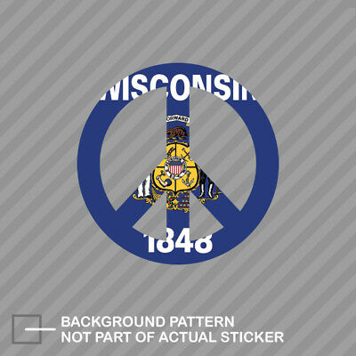 """5.3/""""x5.5/"""" Wisconsin State Flag Map printed vinyl decal sticker WI USA"""